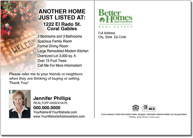 Real Estate Postcard, Better Homes & Gardens Postcards